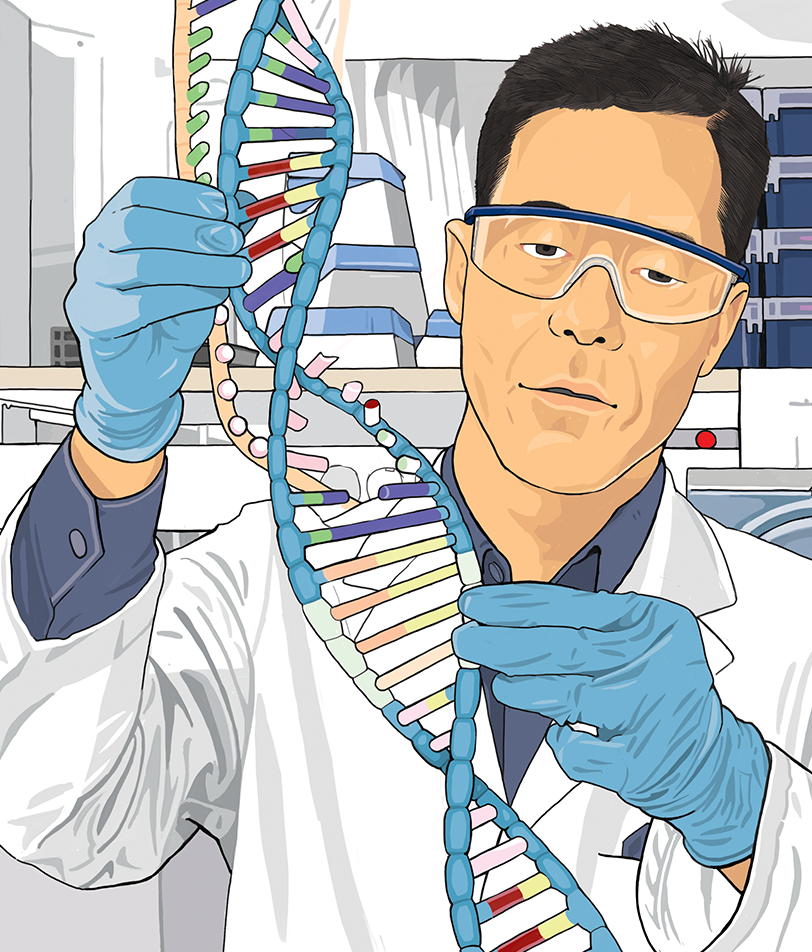 Scientist with double helix illustration
